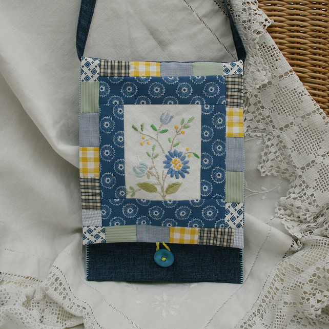 SALE Blue Patchwork Messenger Bag with recycled embroidery