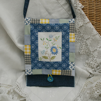 Blue Patchwork Messenger Bag with recycled embroidery