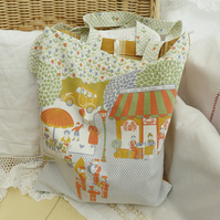 SALE French themed vintage fabric tote