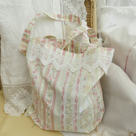 Tote - vintage lace trimmed