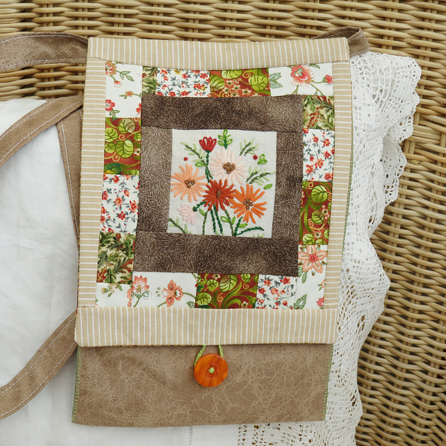 Brown Patchwork Messenger Bag with recycled embroidery