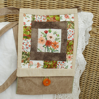 SALE Brown Patchwork Messenger Bag with recycled embroidery