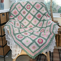 Blanket - pretty green and pink crochet
