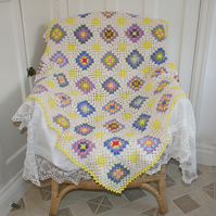 Blanket or throw - cream, yellow and multi crochet
