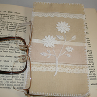 SALE Glasses,spectacles case - coffee and cream recycled linens
