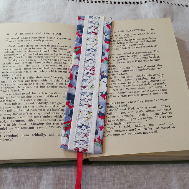 Bookmark - vintage drawn thread work blue, red and white