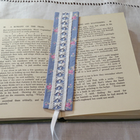 Bookmark - vintage drawn thread work blue and white