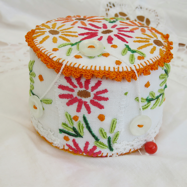 Trinket Box - recycled linen, crochet and felt