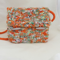 Knitted Bag - from 'torn fabric yarn'