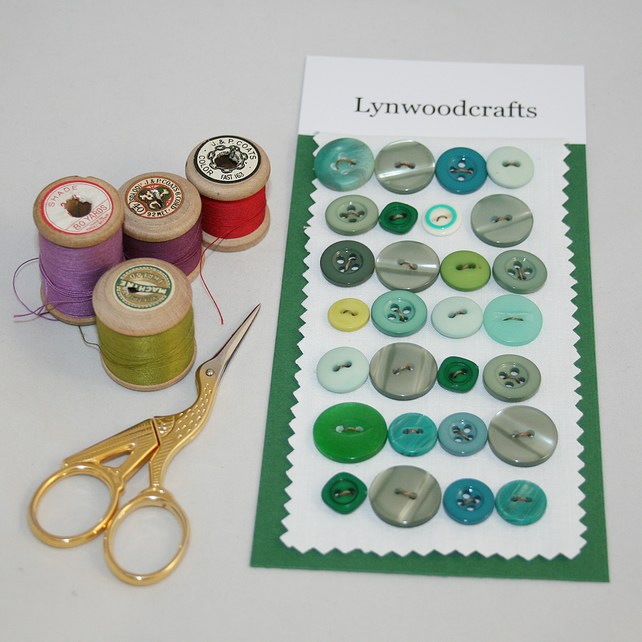 Buttons green - including vintage