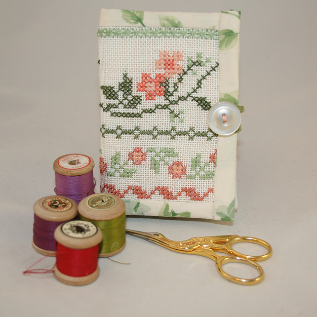 Needle book from recycled cross stitch