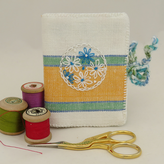 SALE Needle book from recycled linen - yellow,green and blue.
