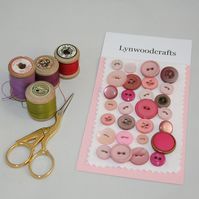 Buttons pink - including vintage