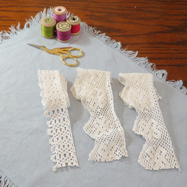 Vintage reclaimed lace - hand crocheted