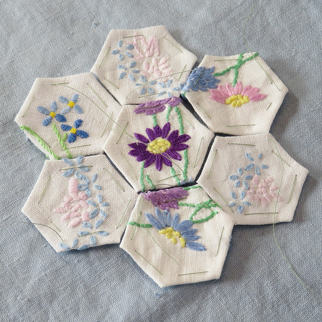 Pastel hexagonal patches from vintage linens