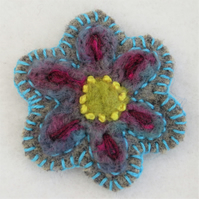 Flower Brooch Embroidered and Felted blue and pink on Brown