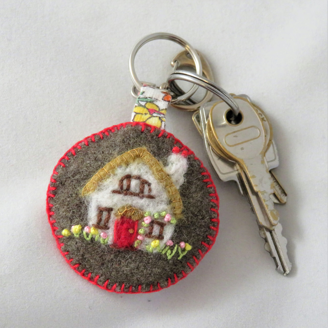 Keyring - embroidered and felted House design