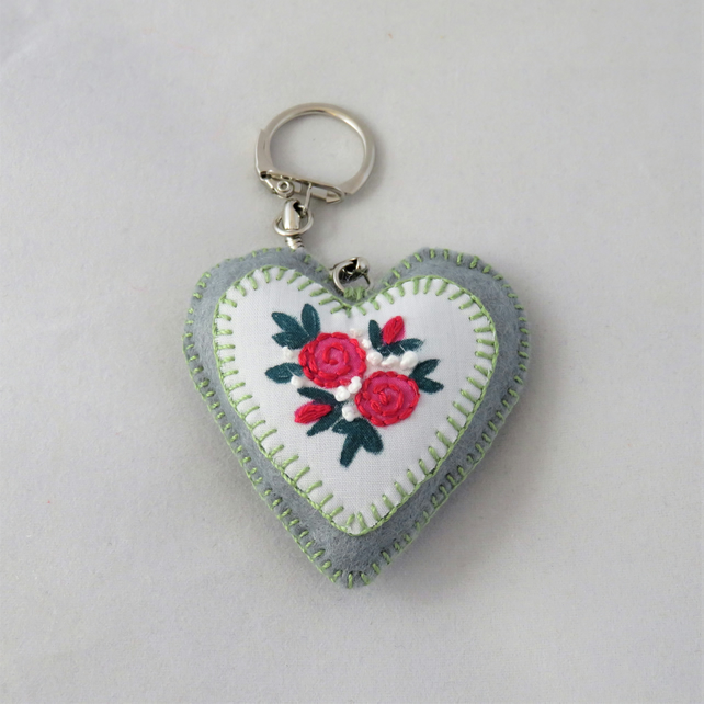 Keyring - Stencilled and Embroidered Red Rose Posy