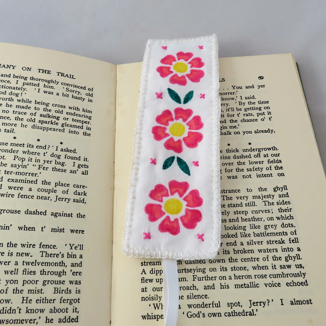 Embroidered Stencilled Bookmark on vintage cotton - wild roses