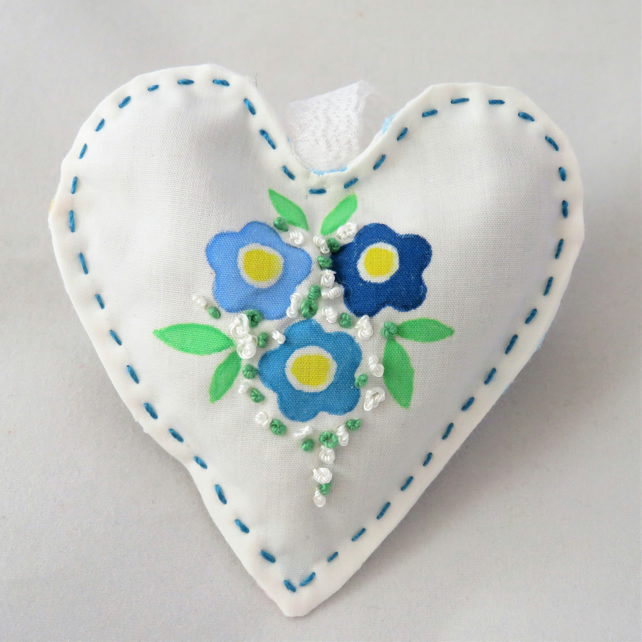 Heart Lavender Bag stencilled and embroidered - blue flowers