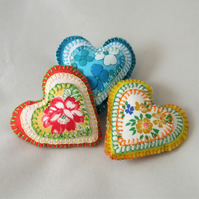 Trio of Appliqued Felt Lavender Hearts