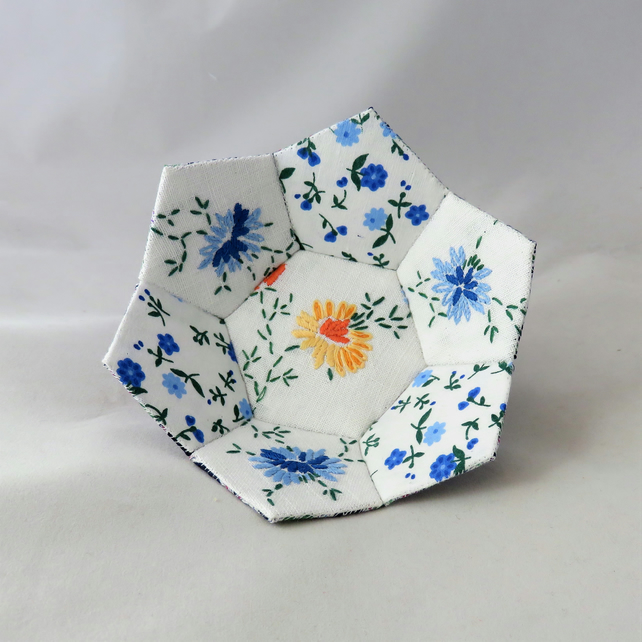 Patchwork Trinket Bowl Blue, White and Yellow from vintage linen