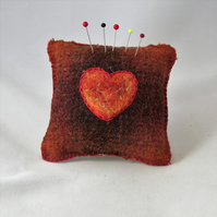 SALE Heart Felted Pincushion on recycled tweed Orange and Brown