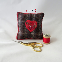 SALE Heart Felted Pincushion on recycled tweed Red and Grey