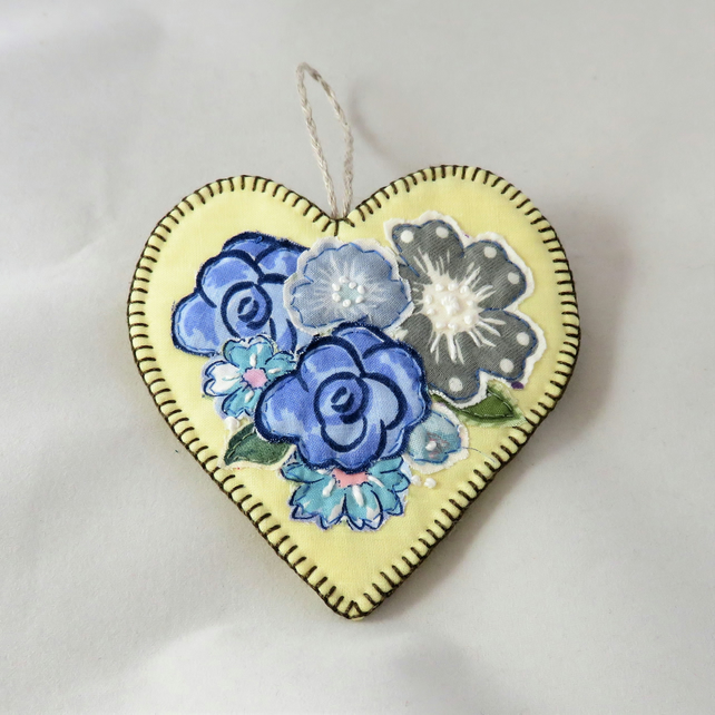 SALE Hanging Heart Blue Posy on Yellow