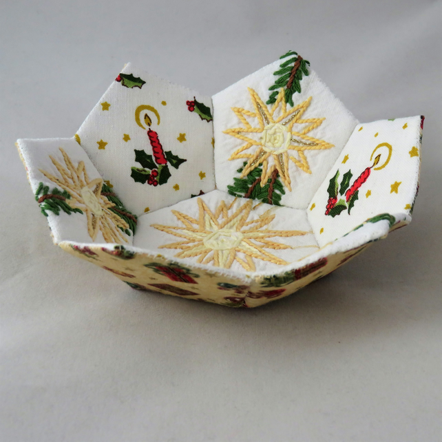 Patchwork  Christmas Bowl holly from vintage linen and candles