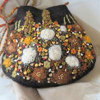 SALE Embroidered Bag - autumn garden on recycled tweed
