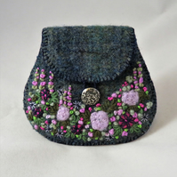 Embroidered Purse - purple garden on recycled blue green tweed