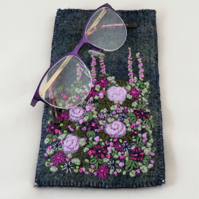 Embroidered Glasses Case  - purple garden on recycled blue green tweed