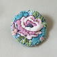 Flower badge style brooch metallic thread embroidery on vintage fabric