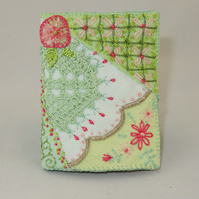 Crazy Patchwork Needle book from hand dyed recycled linen and lace