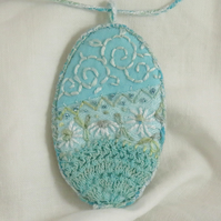 SALE Turquoise Textile Embroidered Pendant from hand dyed vintage linen and lace