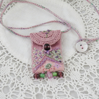 SALE Pink Textile Embroidered Keepsake Pendant vintage linen, lace, beads