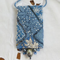 Textile Embroidered Pendant from hand dyed vintage linen and beads