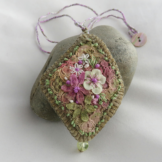 SALE Green and Lilac Textile .Pendant from hand dyed vintage lace