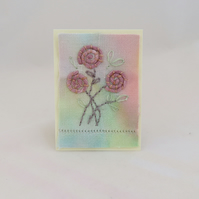 SALE Roses ACEO hand embroidered on hand dyed vintage linen