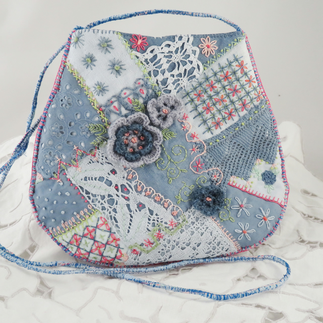 Crazy patchwork bag - blue and pink from hand dyed vintage linens