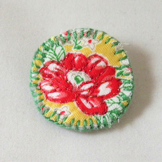 Red on Yellow  Flower badge style brooch metallic thread on vintage fabric