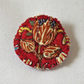 Copper  Flower badge style brooch metallic thread on vintage fabric