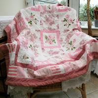 SALE Patchwork throw from vintage embroidered linens.