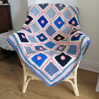 SALE - Patchwork Blanket - cream, blue and multi crochet
