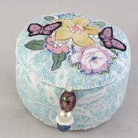 Embroidered and Appliqued Trinket Box from recycled fabrics and cardboard tube
