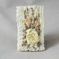 Embroidered Brooch Cream Silk Roses on Vintage lace