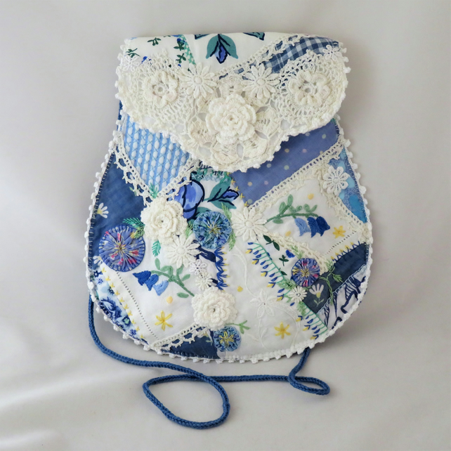 Blue and White Crazy patchwork bag - from vintage linens and fabrics