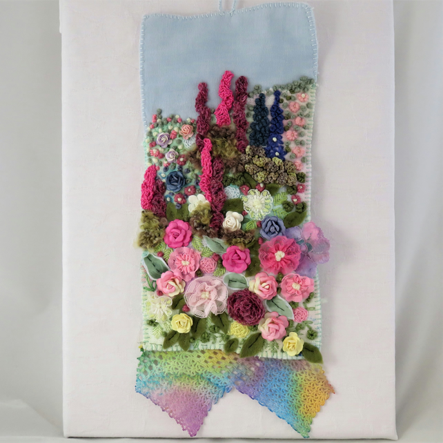 Profusion of Flowers Textile Hanging - Mixed media