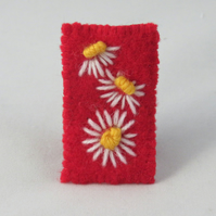 Brooch - White daisies embroidered on recycled red wool fabric